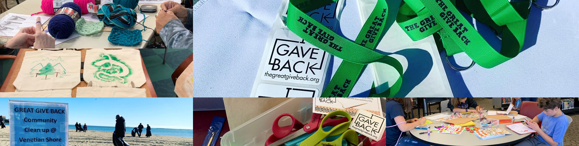 The Great Give Back slide with image collage of past Great Give Back Event with crafts, lanyards, and activities