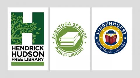 Logos for Hendrick Hudson Free Library, Saratoga Springs Public Library, and Linden Hurst Memorial Library